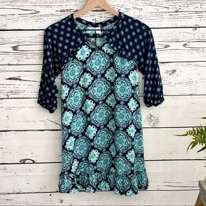 Justice Blue Green Medallion Print Boho Dress 12